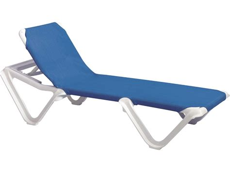grosfillex nautical resin adjustable sling white chaise