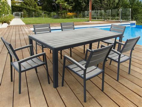 table de jardin metal et bois