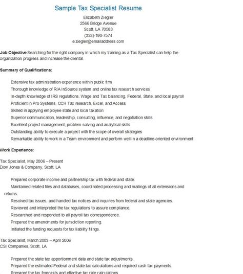Tax Specialist Resume by Sle Tax Specialist Resume Resame Resume