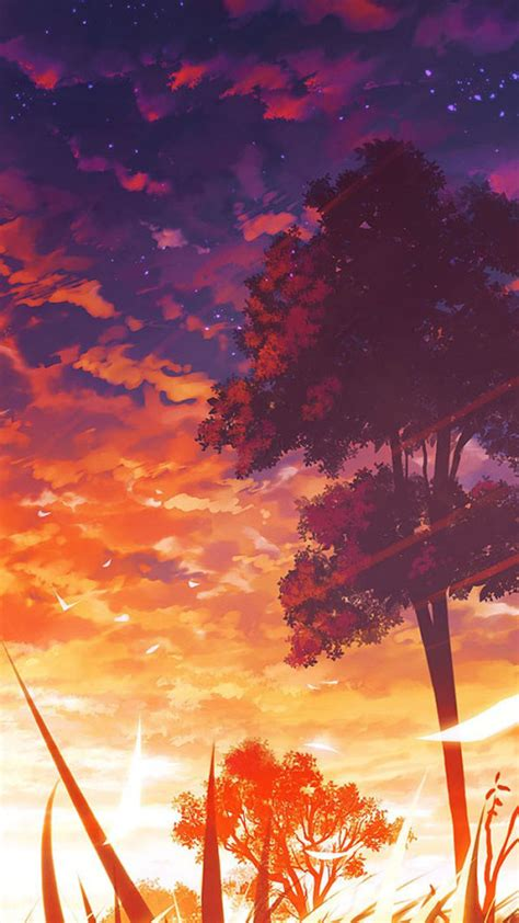 Anime Wallpaper Iphone 11 by Anime Sunset Scenery Iphone 6 6 Plus And Iphone 5 4