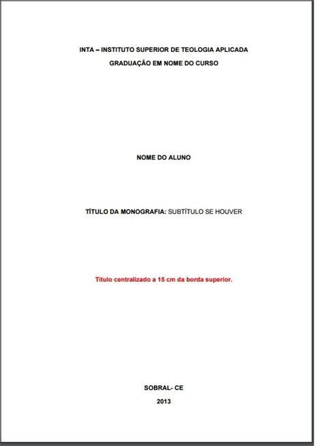 capa de trabalho nas normas abnt tcc monografia artigos 10 melhores imagens de normas da abnt no bem