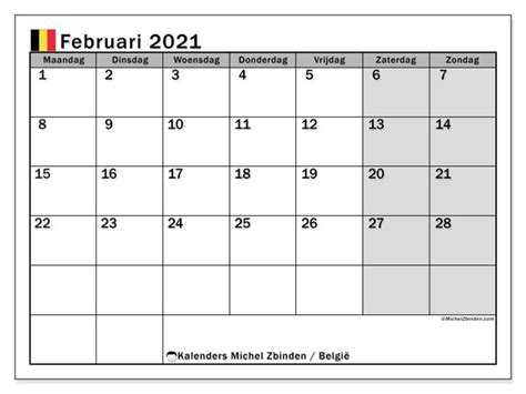 kalender februari  belgie michel zbinden nl
