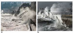 Water Waves Hitting A Seawall During Recent Storms In The Uk  A