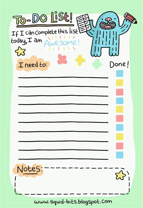 todo checklist squid bits to do list