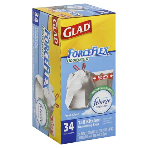 upc  glad force flex drawstring  gallon