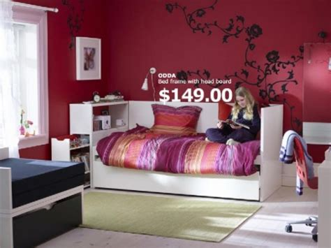 decoration room for teenagers bedroom teen bedroom with bed frame and red wall paint color and white bookshelves teenage
