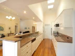 galley kitchen ideas modern galley kitchen design using floorboards kitchen photo 358580