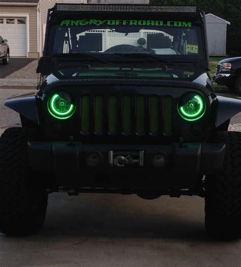 jeep angry headlights halo headlights fusion colorshift halo headlight kit