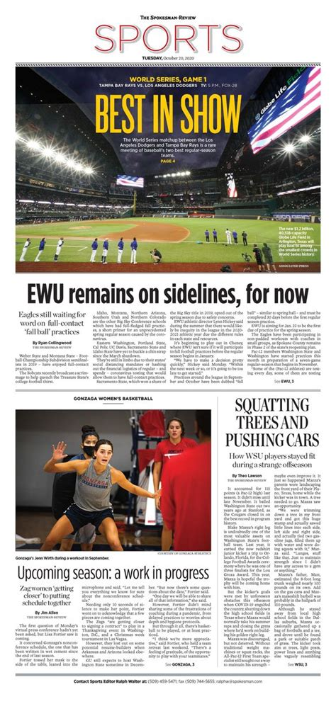 Front page for Oct. 20, 2020 | The Spokesman-Review
