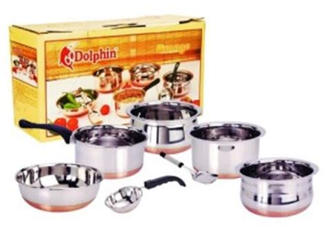dolphin orange stainless steel cookware set   rs  pepperfry savemoneyindia