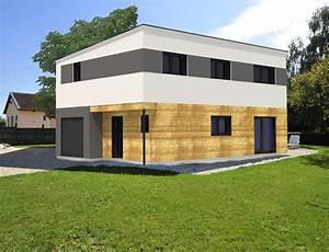 Maison cubique bardage bois et crépis Nos Projets Maison cubique