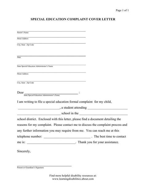 IDEA Formal Complaint - Model Form Letters and Forms