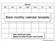 Monthly Calendar Template Sunday Start