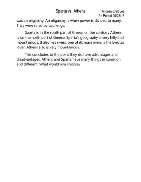 athens vs sparta essay conclusion