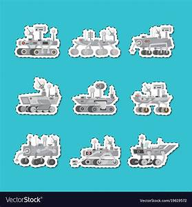 Mars rovers isolated labels set Royalty Free Vector Image