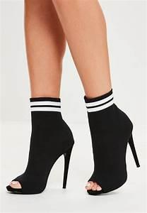 Missguided Black Peep Toe Sock Ankle Boots