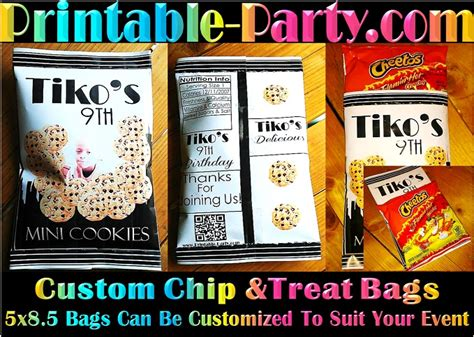 custom chip bag template printable supplies decorations free printables birthday letters