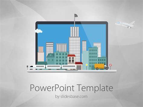 laptop city powerpoint template slidesbase