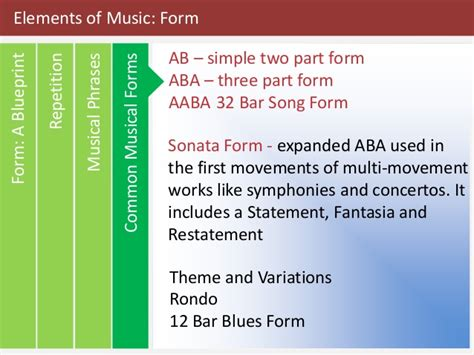 There are music elements that form the basic understanding of music theory that you have to study in order to determine how music is played or constructed. Elements of Music: Form