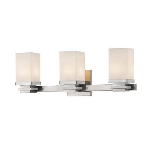 3 light brushed nickel vanity bath light with opal glass
