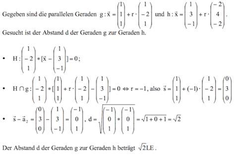 abstand paralleler geraden berechnen formel beispiele