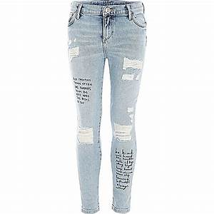 Girls blue quote print Amelie skinny jeans - Skinny Jeans - Jeans - girls