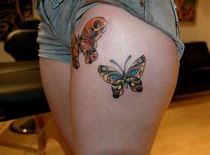 Thigh Butterfly Tattoos for Women - Tattoo Designs ...