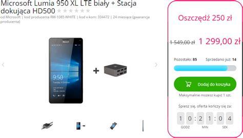 biała lumia 950 xl ze stacją dokującą hd 500 w promocji w