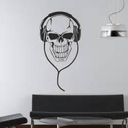 rvz658 Wall Decal Sticker Bedroom Decals Skull Headphones Music