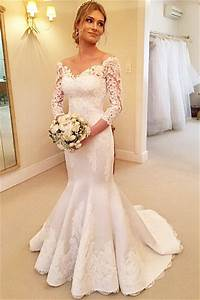 modern off the shoulder 3 4 longth sleeve mermaid wedding With 3 4 sleeve off the shoulder lace wedding dress