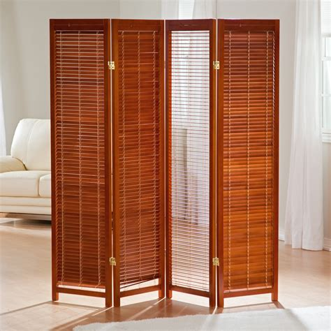 tranquility wooden shutter screen room divider  honey