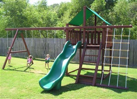 backyard swing set trailblazer swing set fort kit easy to build 3d plans
