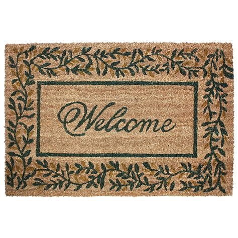 Large Coconut Door Mats by J M Home Fashions Olive Leaves Vinyl Back