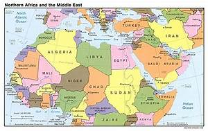 Detailed political map of North Africa and the Middle East ...