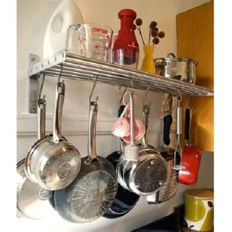 Ikea Pot Rack by Ikea Kitchen Shelf Rail Hooks Set Stainless Steel Pot Pan