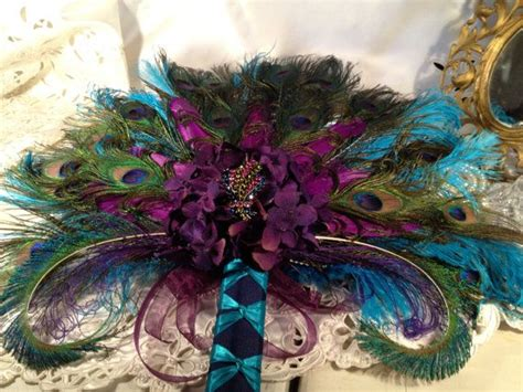 peacock feather purple  teal fan keepsake purple