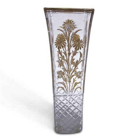 fiori in vetro vaso da fiori in vetro decorato in oro di forma quadrata