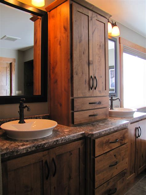 Tasteful Reclaimed Wooden Double Sink Vanity With White