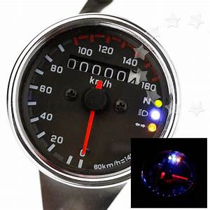 Universal Motorbike 12v Led Background Light Dual Odometer Speedometer Gauge