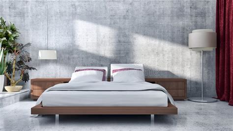 Modern Bedroom Interior Design Computer Generated Image by 3d Render Of Luxury Hotel Interior Stock Illustration