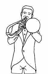 Trombone Coloring Player Printable Freeprintablecoloringpages Music sketch template