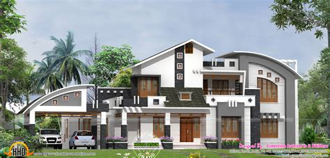 sloped roof with modern mix house keralahousedesigns design style contemporary plan loversiq