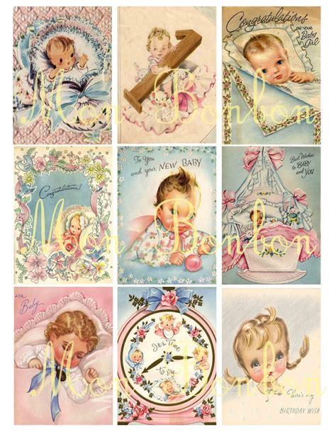shabby chic retro vintage retro shabby chic baby greeting cards collage sheet