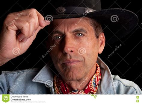 cowboy tipping  hat stock photography image