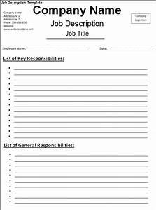 Job Description Template Free Printable Word Templates