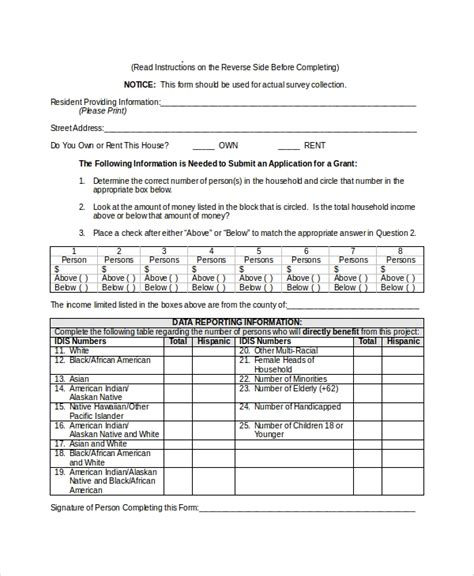 sample survey form template   documents
