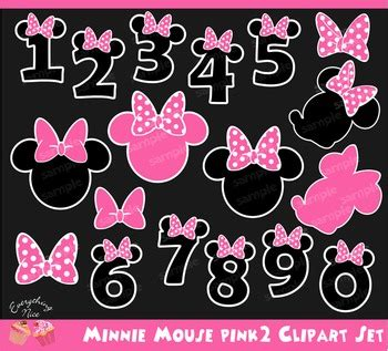 minnie mouse pink numbers clipart set   nice