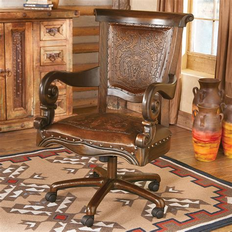 tooled leather western desk chair