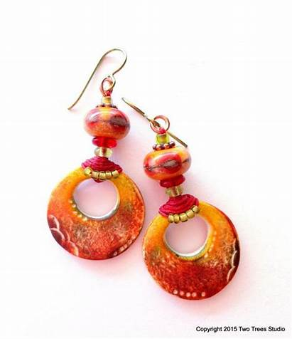 Earrings Polymer Clay Tribal Beads Jewelry Colored