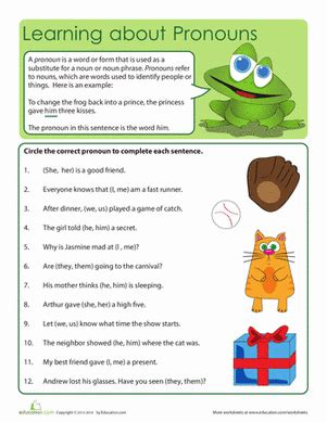 what are pronouns worksheet education